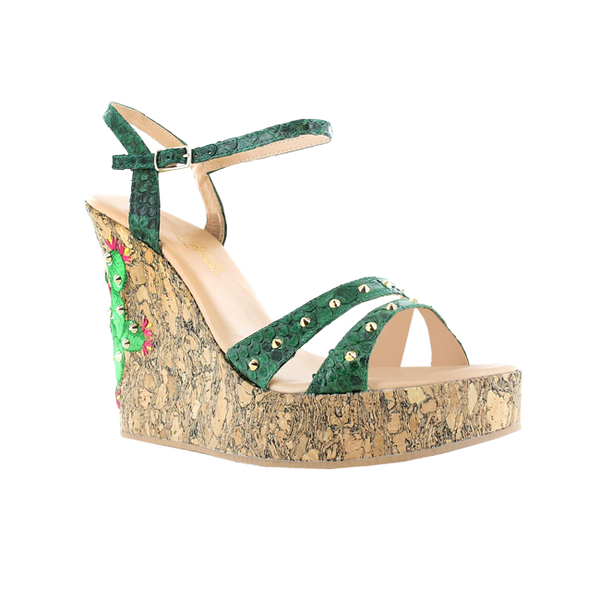CACTUS PYTHON GREEN WEDGES WITH STUDS