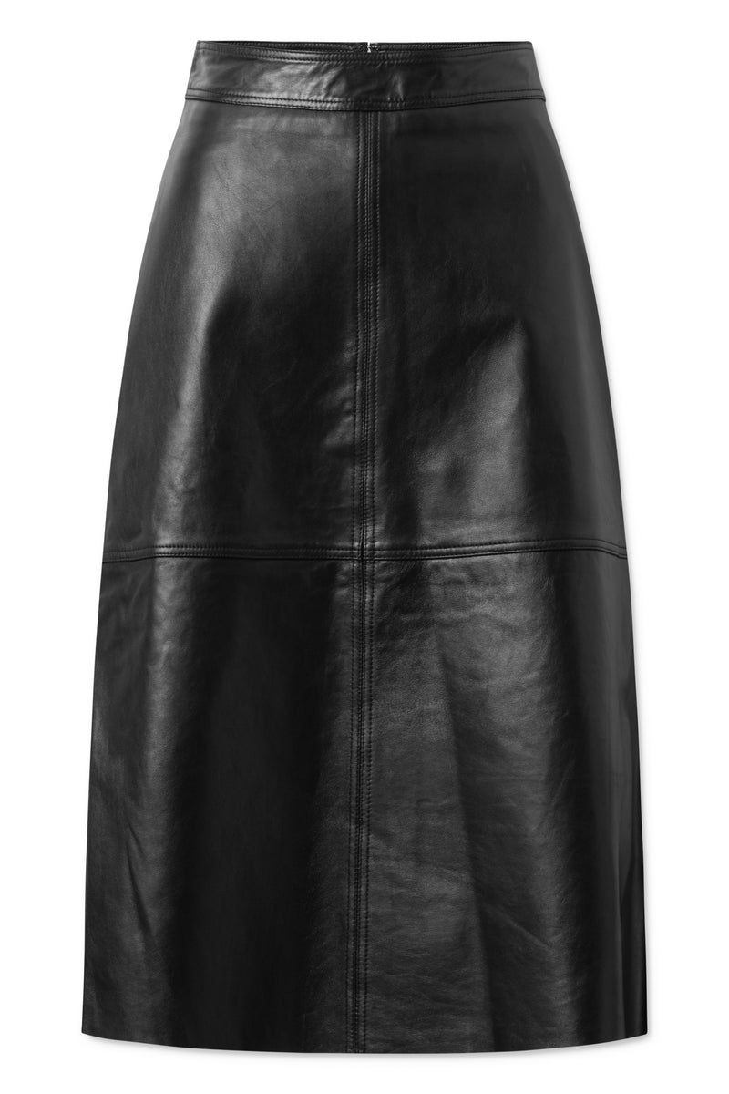 Eloise Leather Skirt - Black