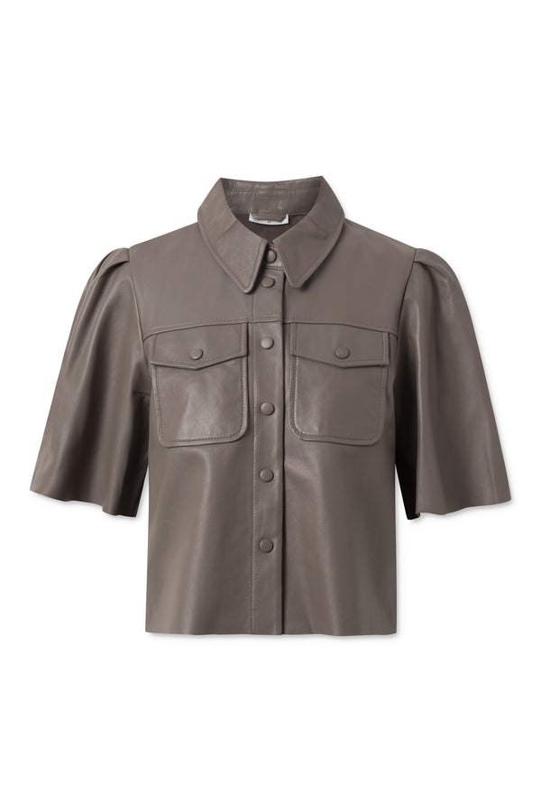 Silina Leather Shirt - Walnut
