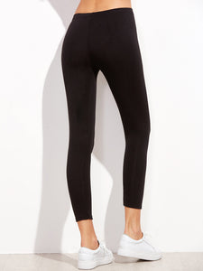 Black Letter Embroidered Hem Leggings