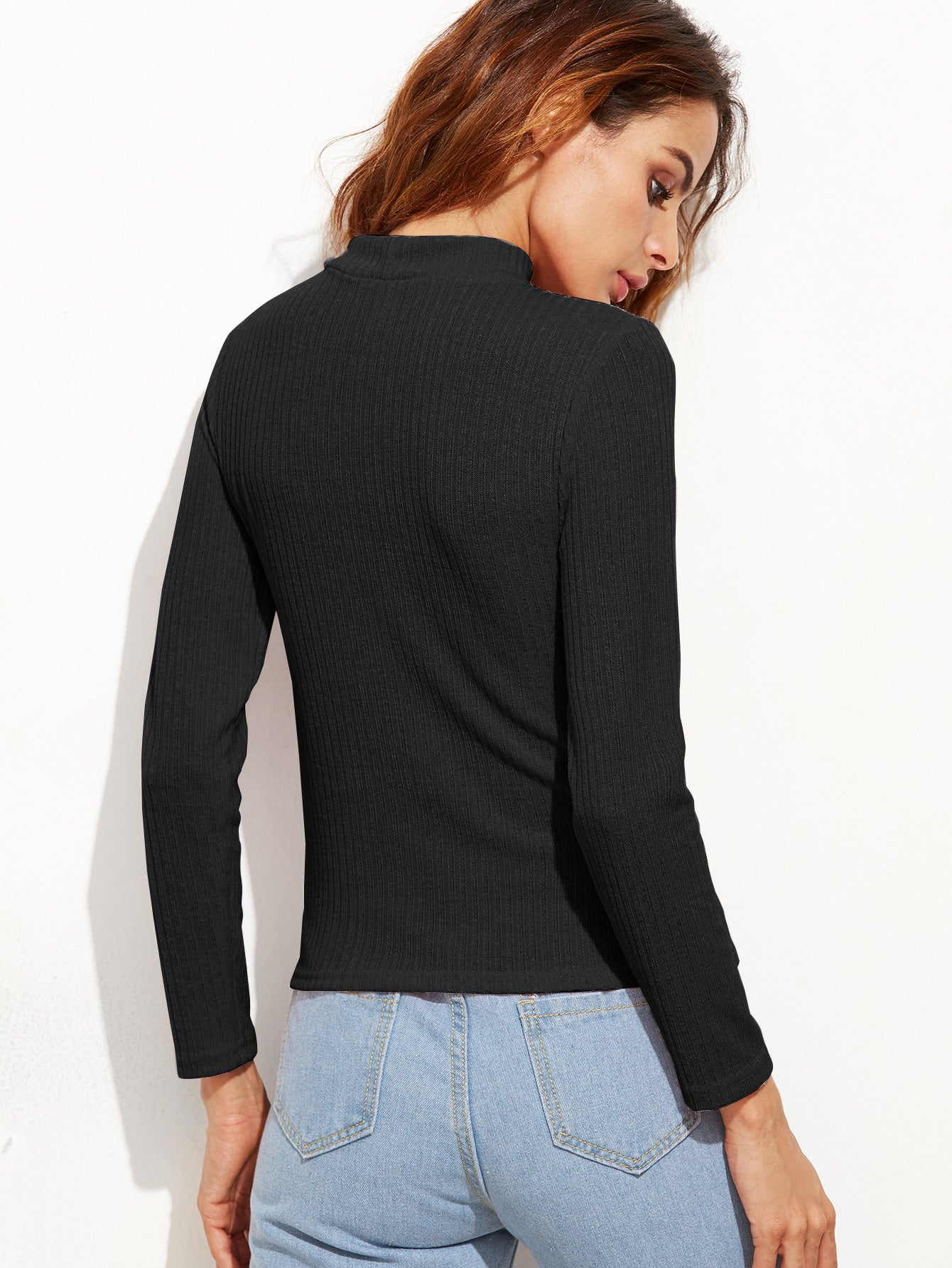 Black Cutout Front Ribbed Sweater