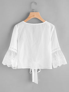Embroidered Mesh Fluted Sleeve Self Tie Chiffon