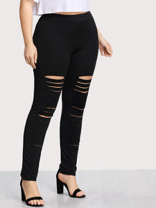 Plus Ladder Ripped Leggings