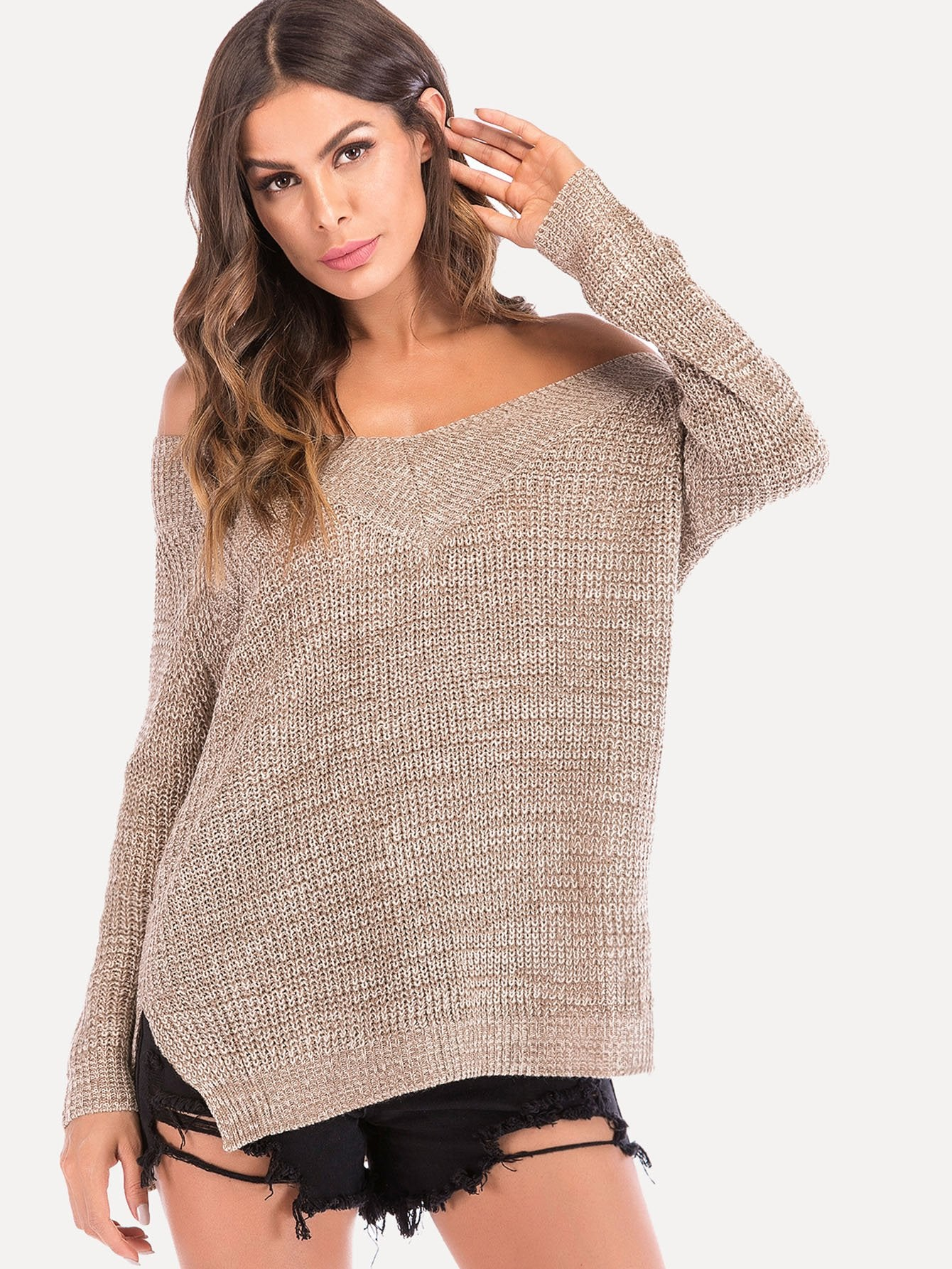 Split V Neck Jumper