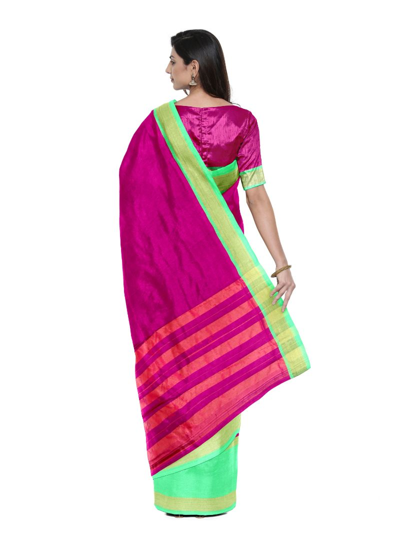 Generic Women's Cotton Silk Saree (Megentha and