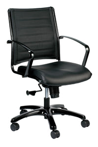 "22"" x 25.5"" x 35.8"" Black Leather Chair"