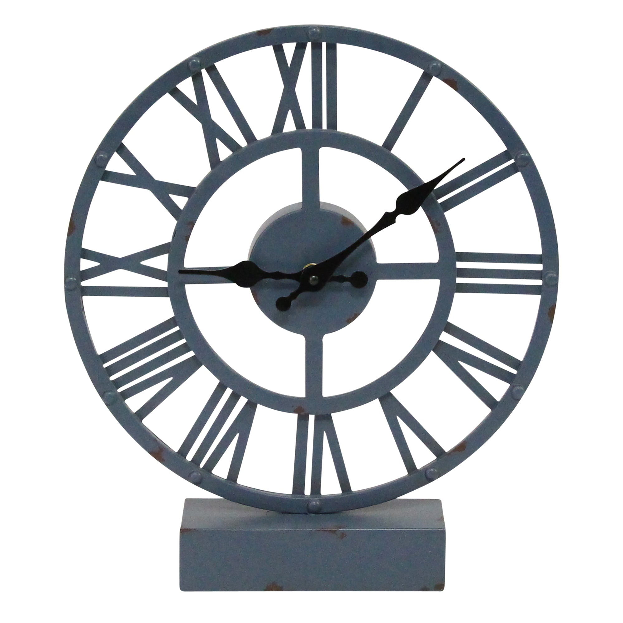 "11.75"" X 2.5"" X 13.5"" Blue Metal Table Clock"