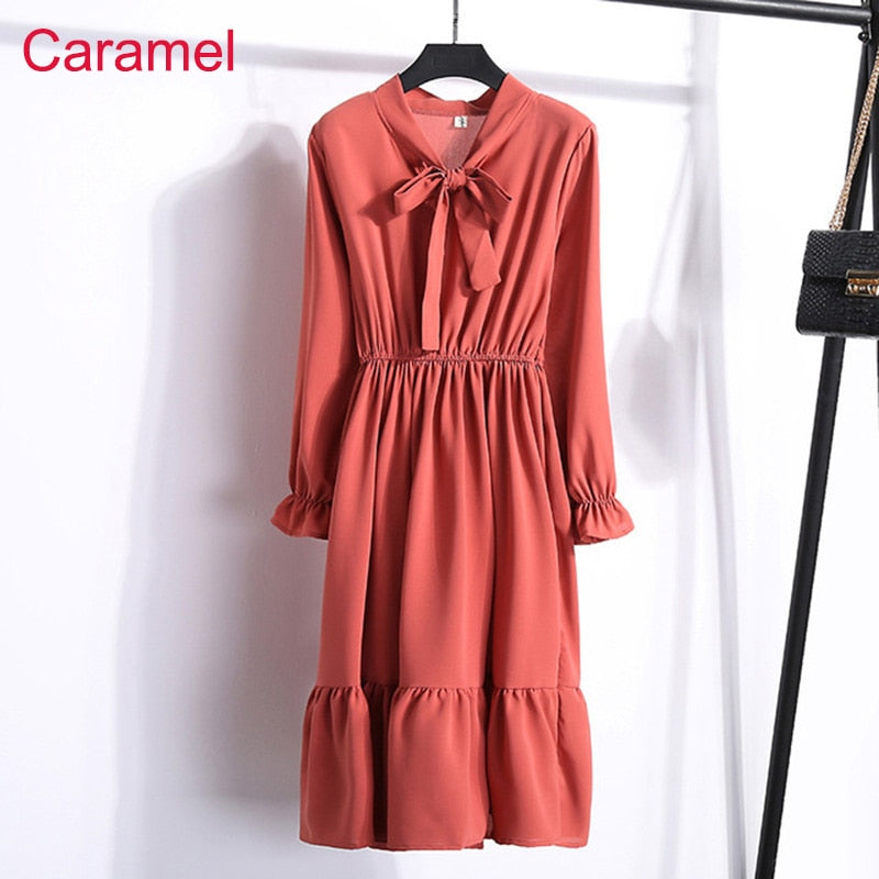 Women Casual Autumn Dress Lady Korean Style Vintage Floral Printed Chiffon Shirt Dress Long Sleeve Bow Midi Summer Dress Vestido
