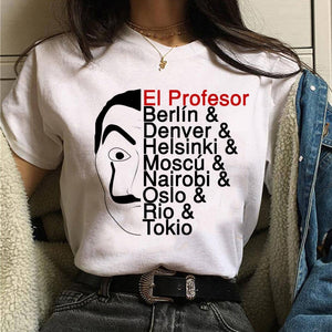 Maycaur The House of Paper T Shirt New Money Heist Women La Casa De Papel Tshirt Funny Top Tee Fashion Female Clothes T-shirts