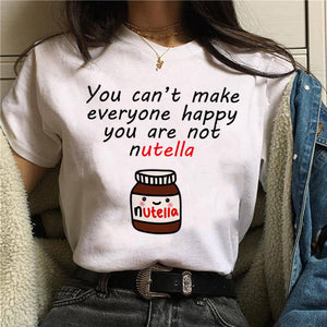 Nutella Kawaii Print T Shirt Women 90s Harajuku Ullzang Fashion T-shirt Graphic Cute Cartoon Tshirt Korean Style Top Tees Female