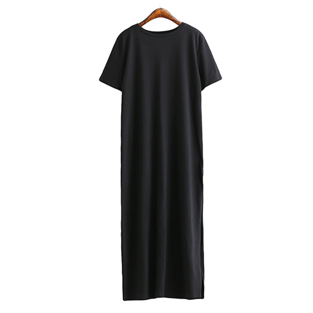 Maxi T Shirt Dress Women Summer Beach Sexy Party Vintage Bodycon Casual Korean Style Cotton Split Black Long Dresses Plus Size