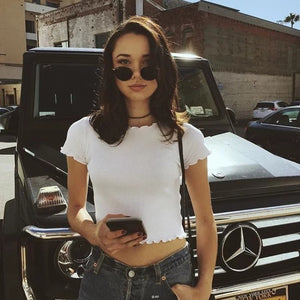 Vintage Wood ears O neck Short sleeve T-shirt 2018 New Woman Slim Fit t shirt tight tee Summer Retro Tops 6 colors