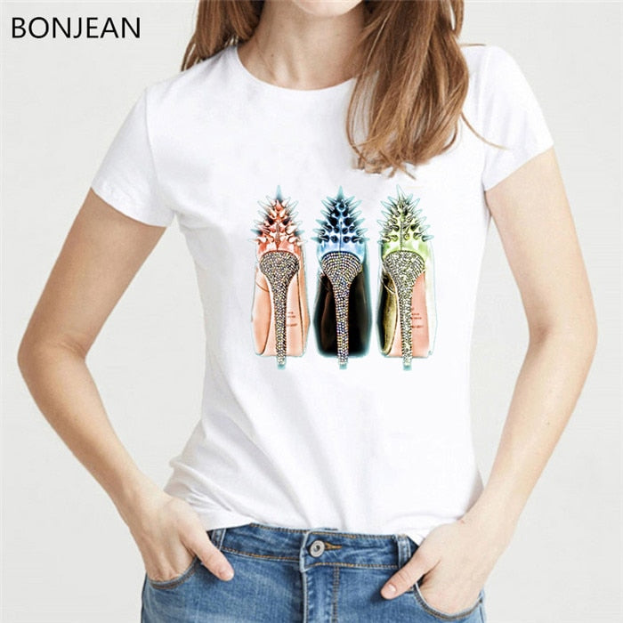 Newest watercolor high heels shoes print vogue t shirt femme funny t shirt women 90s hip hop punk shirt hipster streetwear