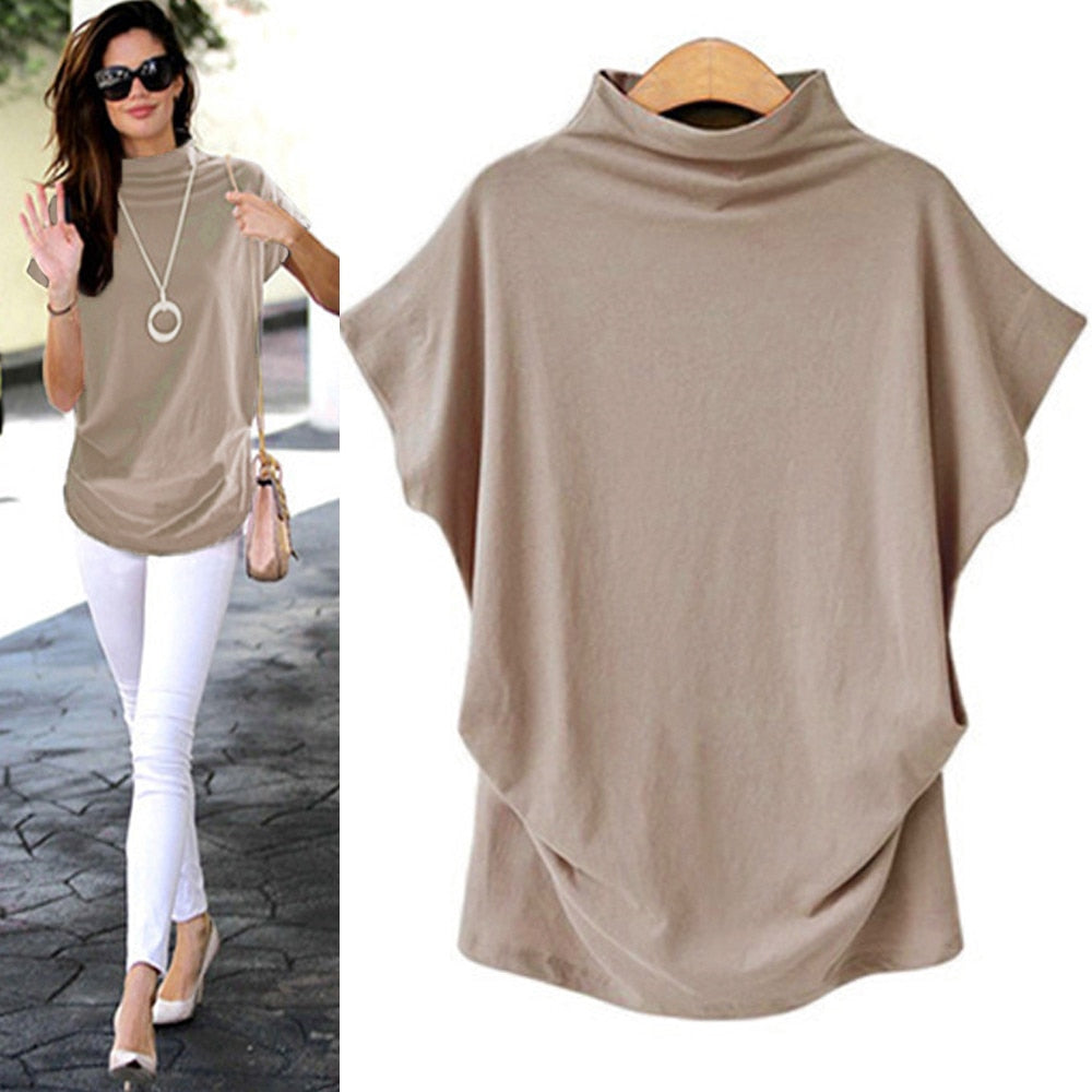 Women Casual Turtleneck Short Sleeve Cotton girl Solid Casual Blouse Top Shirt female Plus Size Solid girl clothing fashion
