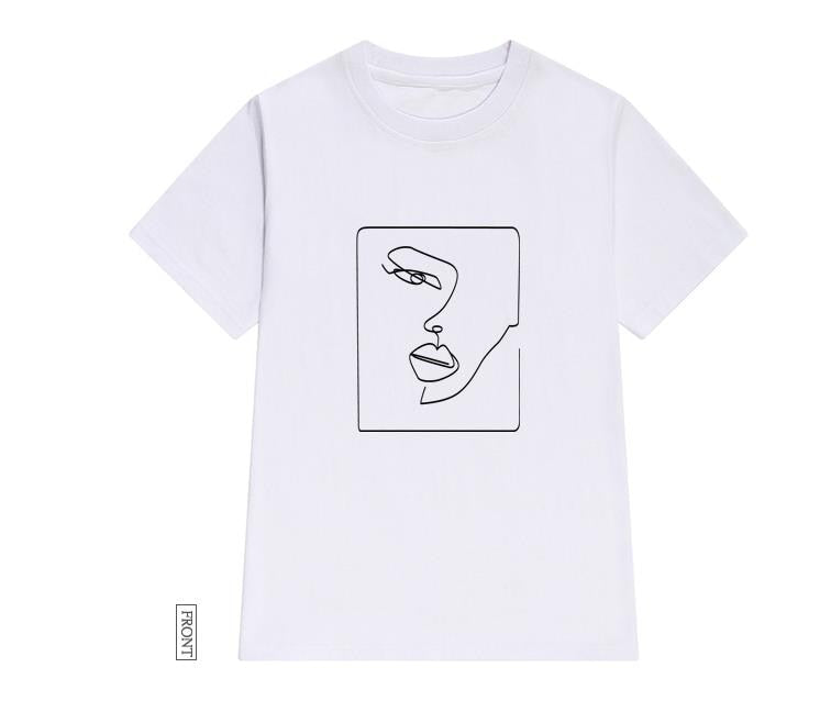 face abstract simple Women tshirt Cotton Casual Funny t shirt Gift For Lady Yong Girl Top Tee Drop Ship S-723