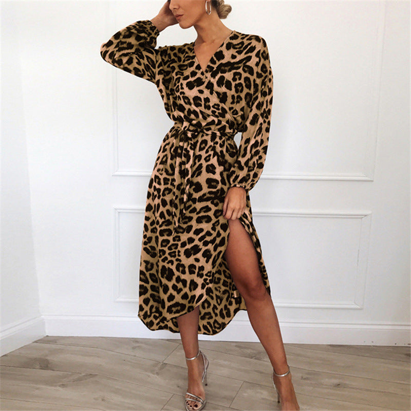 Leopard Dress 2019 Women Chiffon Long Beach Dress Loose Long Sleeve Deep V-neck A-line Sexy Party Dress Vestidos de fiesta