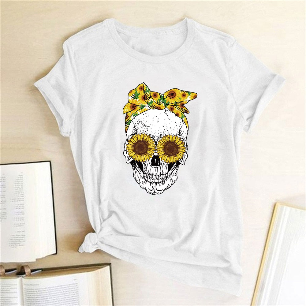 Hillbilly Funny Skull Punk T Shirt Women Fashion Casual Short Sleeve Sun Flowers Tshirts Chemise Femme Tops Mujer Verano 2019