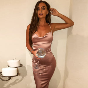 neon satin lace up 2019 summer women bodycon long midi dress sleeveless backless elegant party outfits sexy club clothes vestido