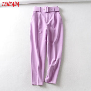 Tangada black suit pants woman high waist pants sashes pockets office ladies pants fashion middle aged pink yellow pants 6A22