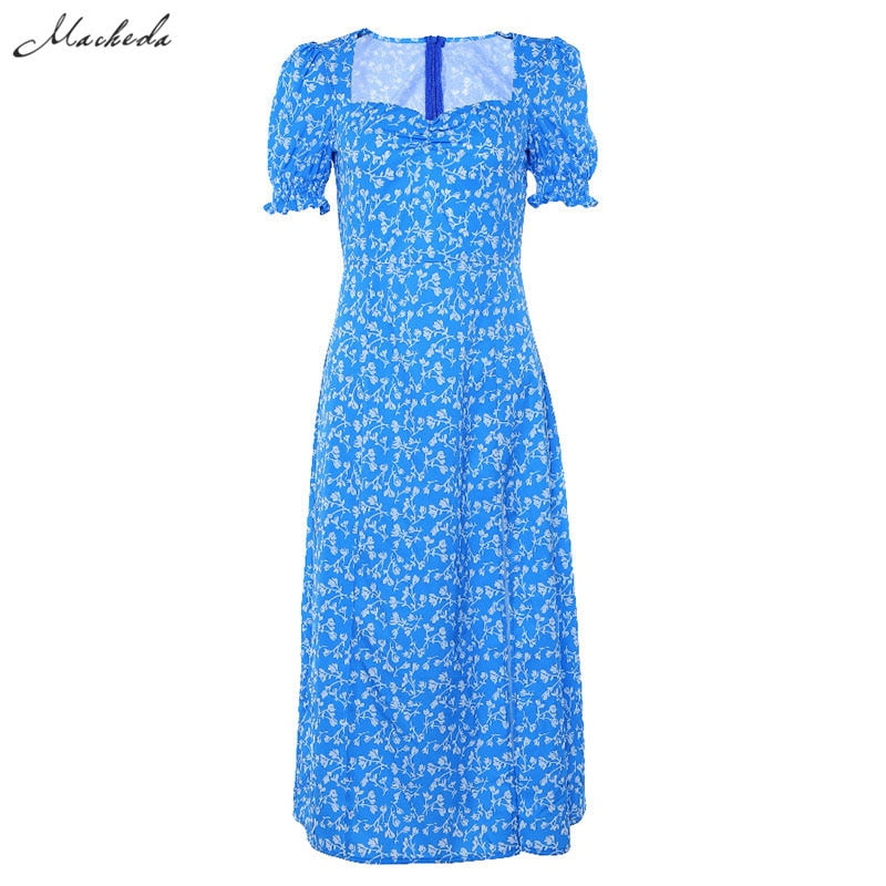 Macheda French Romance Retro Dresses Women Casual Floral Print Square Collar Dresses Ruffles Puff Sleeve Midi Dresses Lady 2019