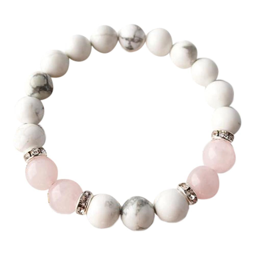 White Howlite & Rose Quartz Sterling Silver Bracelet