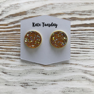 Orange Peach Sparkle Druzy Earrings