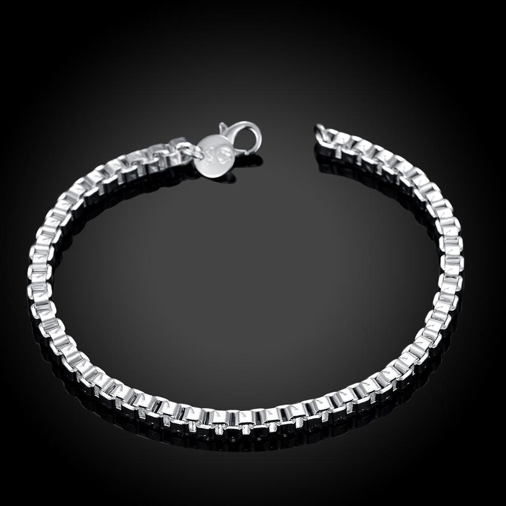 BOX Chain Bracelet in 18K White Gold Plated