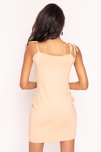 Nude Extreme Ruched Mini Dress