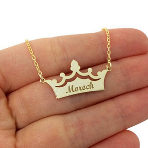 Personalized Crown Engraved Name Letter Pendant