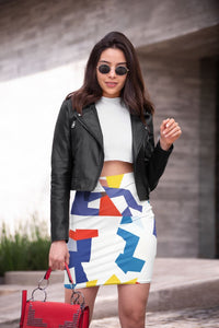 Colorful Pattern Pencil Skirt