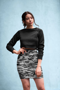Snow Camouflage Pattern Mosaic Style Plakat Pencil Skirt