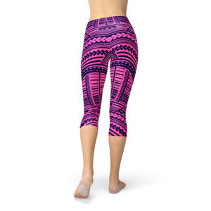 Purple Maori Capri Leggings