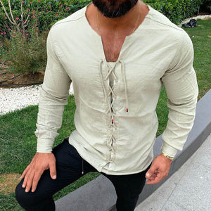 2020 Men's Casual Shirts  Pure Colour Tether Cotton Linen Shirts Slim Fit Social Harajuku V Neck Long Sleeve Shirts