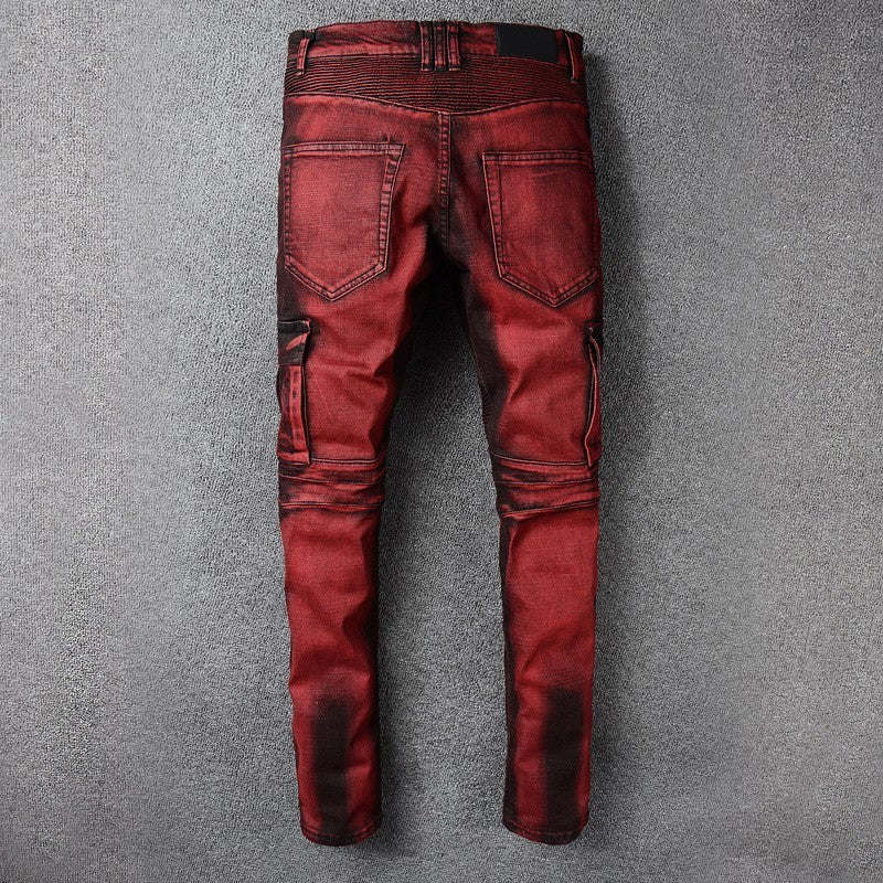 2020 New Mens Punk Retro Red Jeans