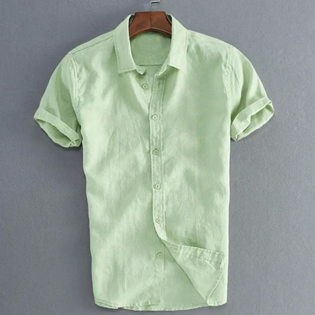Men's Short Sleeve Linen Cotton Shirt Button Down Casual Shirt Short-Sleeve Mens Short Sleeve Shirts Button Down Shirts