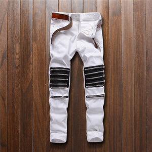 Gooxcheer New Fashion Men's Destroyed Stretchy Ripped Skinny Zipper Slim Fit Casual Pants Trousers Casual jeans Plus Size S-6XL