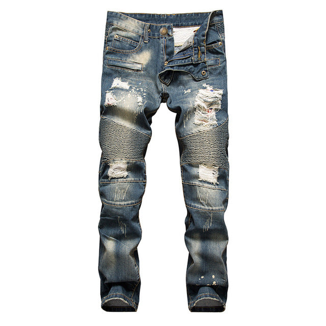 New Brand Mens Snow Designer Fashion Slim Skinny Moto Biker Casual Jeans Straight Motorcycle Jeans Men Destroyed Denim Trousers