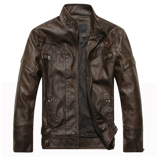 Mountainskin Men's Leather Jackets Motorcycle PU Jacket Male Autumn Casual Leather Coats Slim Fit Mens Brand Clothing SA588