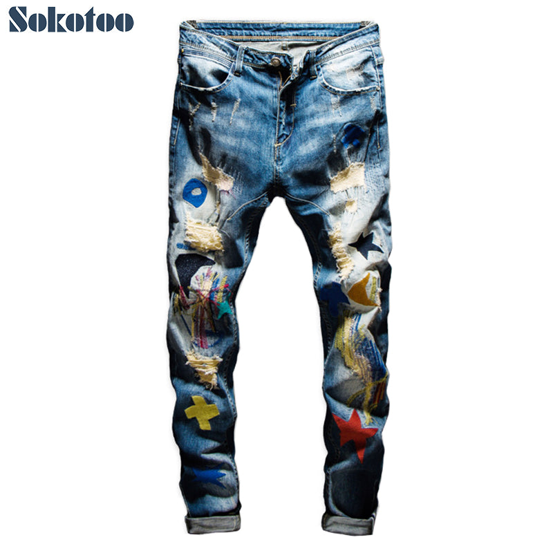 Men's colored patchwork ripped jeans