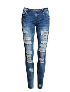 European And American-Style Boutique Stretch Cotton with Holes Boyfriend Pencil Skinny