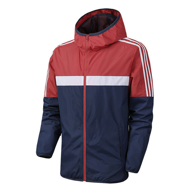 Brand Spring autumn Mens Fashion Outerwear Windbreaker Men' S Striped Thin Jackets Hooded Casual Sporting Coat clothes