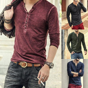 Men's T-shirt of 2019 v-neck, long-sleeved T-shirt and elegant button-down T-shirt fall casual solid men's PLL 5XL