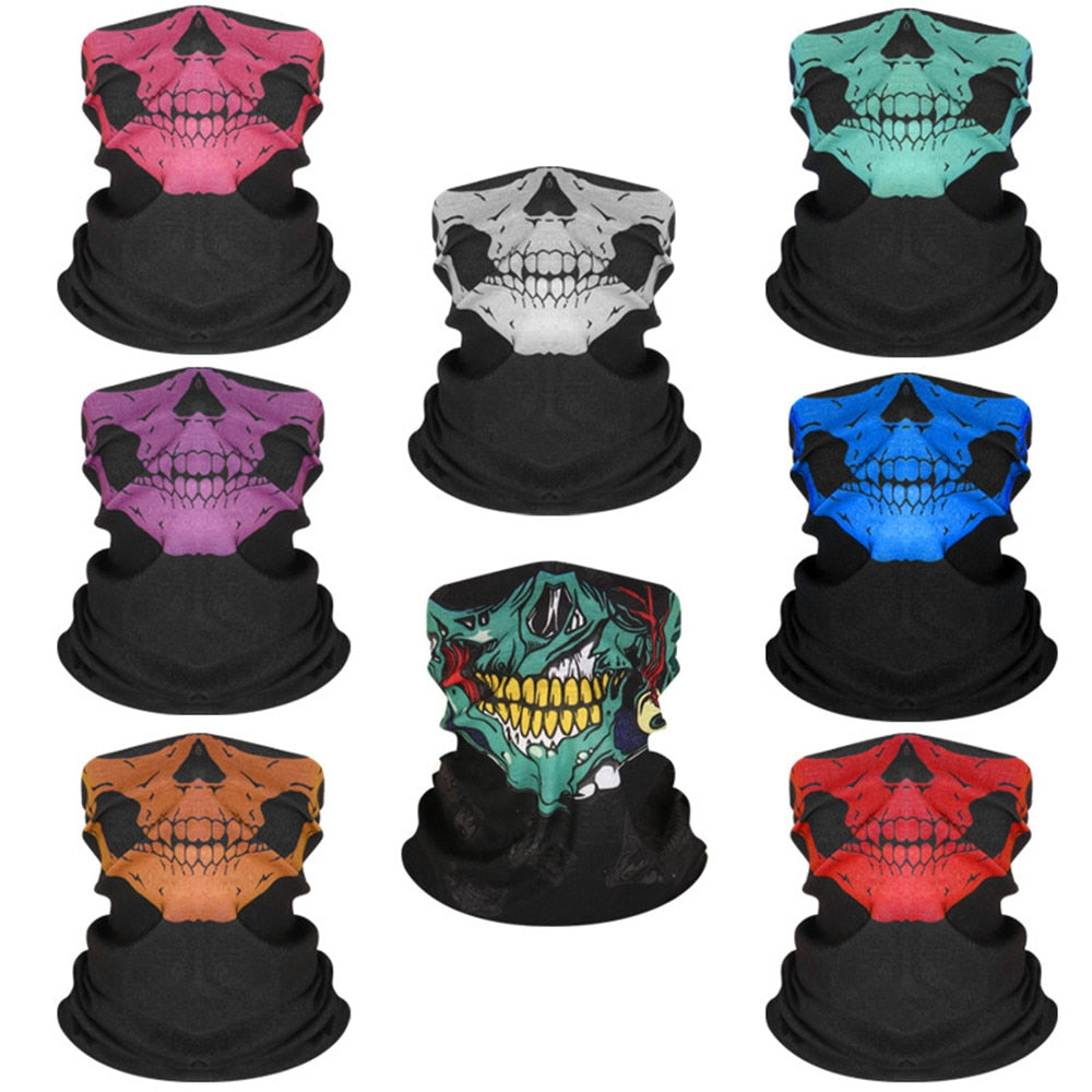 Skull Riding Sport Scarf Outdoor Neck Hand Bandana Camping Neck Gaiters Scarves Multi Function Cycling Hip Hop Bandanas Scarf