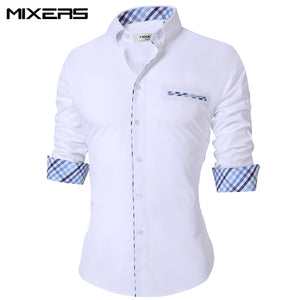 Men's Casual Shirt Regular Fit Casual Shirt Men Long Sleeve Big Size Breathable Office Dress Shirts Men