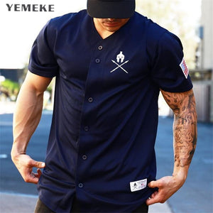 YEMEKE Gyms T shirt Brand Clothing Fitness T-shirt compression Short Sleeve Tshirt Bodybuilding Workout Tee-shirt