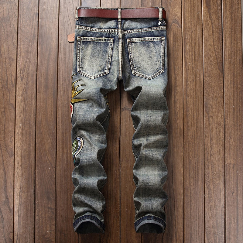 Harajuku Designer Men Hole Ripped Jeans