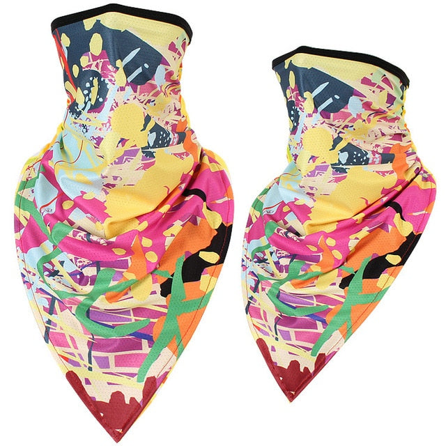 Triangle Bandana Face Scarves Hanging Ear Tube Scarf Ice Silk Neck Gaiter Cover Anti-UV Smooth Breathable Headband Men Women