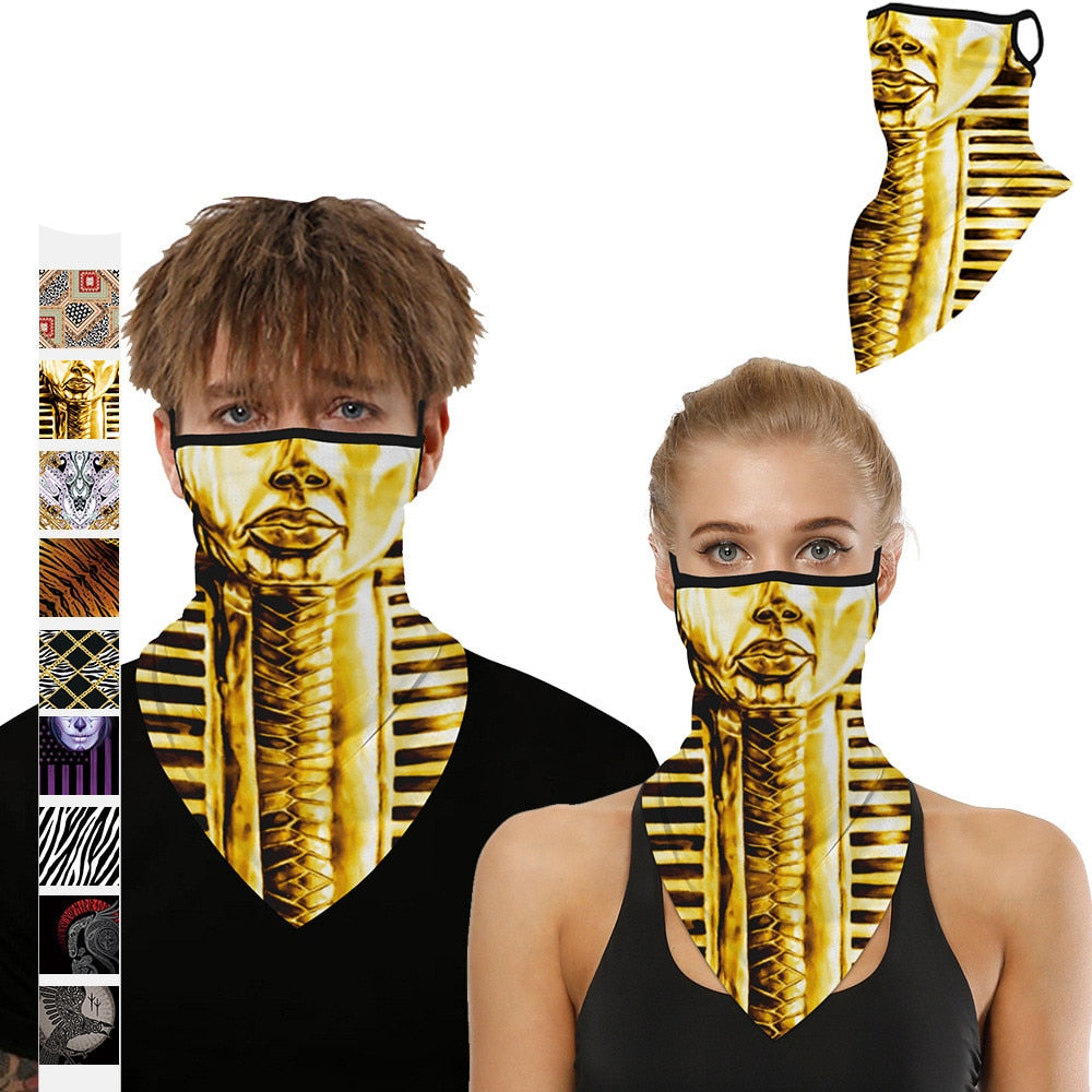 Egyptian Pharaoh 3D Bandana Scarf Dust-proof Mouth Protection Hiking Scarves Cosplay Lugs Neck Gaiters Outdoor Triangle Bandanas