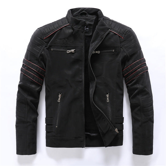 Autumn Winter Motorcycle PU Leather Jacket Men 2020 Vintage embroidery Fleece Warm Multi-pocket Leather Coat Male European Size