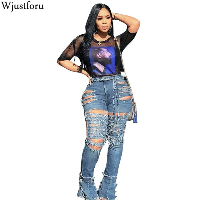 Wjustforu Sexy Hollow Out Ripped Jeans For Women Personality High Waist Holw Denim Pants Femme Bodycon Club Pencil Pants Vestido